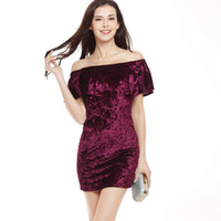 Wholesale Wholesale Clubbing Wear - New Arrival Ruffle Off Shoulder Velvet Bodycon Dress Sexy Women Short Sleeve Club Wear Mini Dress DK1723LY