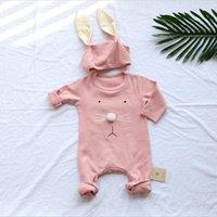 säuglingshüte für jungen großhandel-Sommer Kleidung Sets Infant Baby Kinder Kinder Mädchen Jungen 2 stücke Sets (Hut Cap + Ramper) 100% Baumwolle Kleidung Set Lange Ohr Kaninchen Kleidung Sets