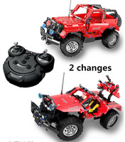 Wholesale red toy jeep - 2 changes Hummer RC Jeep Building Blocks Remote Control Off-road vehicles for Boys RC Red Car Kids Toy Gift Bricks with usb