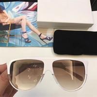 Wholesale Pcs Material - 41435 Sunglasses Vintage Audrey Fashion Women Brand Designer CL41435 Big Frame Flap Top Oversized Leopard Pc Plank Frame Material With Case