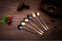 Wholesale Candy Scoops Wholesale - 2017 Stainless ice scoop dessertspoon food grade ice cream candy teaspoon mixing spoon more color long handle coffee spoon kitchen tool