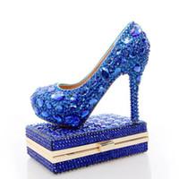 ботинки сочетаются с муфтами оптовых-2017 синий горный хрусталь свадебные каблуки с Мода Кристалл соответствия мешок партии высокие каблуки с сцеплением свадебные туфли Леди Пром насосы