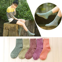 Wholesale Cheap Sock Wool - Wholesale-1 Pair New Women Winter Casual Soft Wool Cashmere Socks Thick Warm Women Sock Solid Color Socks calcetines mujer Cheap Z1