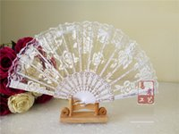 Wholesale Lace Ladies Fan Wholesale - Lace roses cloth fans spanish plastic folding fan elegant Ladies fans colorful dance folding fans Wedding gift