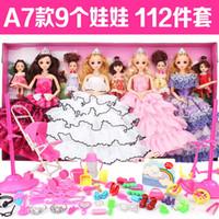 Wholesale Princess Wardrobe - Happy heart more barbie doll dress princess wedding wardrobe change big box dream girl children's toys