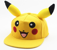 Wholesale Adult Comics Wholesale - Pikachu Caps Hat Poke mon Go Snapback Cartoon Comic Cute Lovely Pikachu Flat Snapback Caps Hat for Men Women