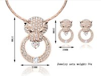 New Fashion Women Wedding Jewelry Sets Rose Gold Plated Full Drilling Round Leopard Head Colar Brincos Jóias Conjuntos