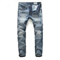Wholesale Summer Motorcycle Pants - British Summer Casual Men Jeans Pant Fashion Designer Men's Jeans Brand Zipper Jeans For Men Motorcycle Fashion Men Pants J170204