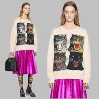 Wholesale Cotton Hoodies Leopard Sweatshirt Top - 17ss Europe Luxury Fashion italy 4 leopard Tiger towel hoodies top jumper men women fashion Cotton hooded sweatshirts
