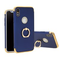 Wholesale slim cell - 360 Degree Ring Holder PC Slim Hard Shockproof Cell Phone Cases for IphoneX 8 7 6 Samsung note8 galaxy S8 Cover