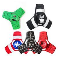 Wholesale Spiderman Models Kids - Avengers Stars Heros Ironman SpiderMan Green Man Superman Batman Alloy Metal Fidget Hand Spinner Toys For ADHD 5 Styles Mixed Model Style