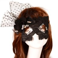 Wholesale Rhinestone Cat Mask - Halloween Mask Sexy Catwoman Mask With Flower Rhinestone Goggles Princess Party Nightclub Lace Veil Mask Black One Size Fit Most
