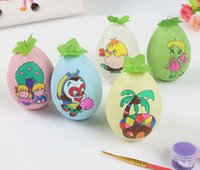 Wholesale Colored Pigment - Wholesale- 5pcs pack children handmade DIY drawing Easter eggs  Kids colored drawing eggs with brush and pigment for educational toys
