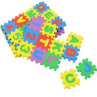 Wholesale Soft Puzzle Floor Mat - Wholesale- children mini EVA Foam Alphabet Letters Numbers Floor Soft Baby Play Mat 3d puzzle Kids Educational toys 36 pcs