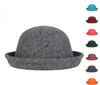 Wholesale Ladies Fashion Hats Small - 5pcs lot hot women's girl's Solid color 8 colors autumn winter pure wool hat Dome small hat cap Ladies top hats 56-58cm in stock drop ship