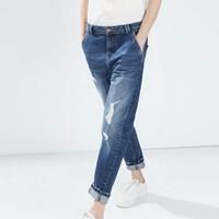 Wholesale women jeans elegant - KZ561 New Fashion Ladies' elegant classic holes Blue Denim jeans trouses zipper pockets skinny pants casual slim brand design