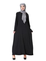 Wholesale East Knitting Black Milk - H905 2017 New Milk Silk Knit Long-Sleeve Dubai Robe Middle East Arab Muslim Robes Women's Black Dress maixi dresses cheap plus size m-xl