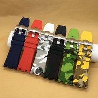 Wholesale Camouflage Watch Strap - Wholesale- Luxury watchand 28mm camouflage Rubber strap Silicone Waterproof Strap with stainless steel pin buckle fit for AP watch