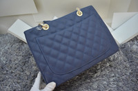 totes originali di qualità Trasporto libero! Fashion Black Caviar Borsa in vera pelle Shopping bag grande con Hardware oro per donna 6 colori