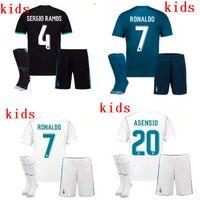 Wholesale Cotton Short Socks - 201718 Messi Real Madrid Home Kids soccer Jerseys kits +Socks 17 18 RONALDO SERGIO RAMOS JAMES BALE RAMOS ISCO MODRIC Benzema football shirt