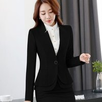 Wholesale Wholesale Women Office Suits - Women Elegant formal women blazers autumn temperament long-sleeve black gray jacket office ladies plus size work wear coat WB6987