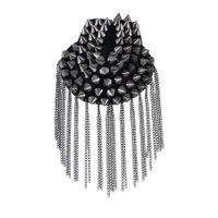Wholesale Spikes Shoulders - Fashion element spike punk style tassels brooch shoulder board