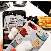Wholesale Toys Cat Phone - Fidget 3D Cat Squishy Phone Case Capa Soft Squeeze animal Toys stress relief Back Cover cases for Iphone 6 6s 7 Plus