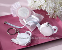 Wholesale Measuring Tape Key Chain - 200pcs Love is Brewing Teapot Measuring Tape Measure Keychain Key Chain Portable Key Ring Wedding Party Favour Gift Free Shipping