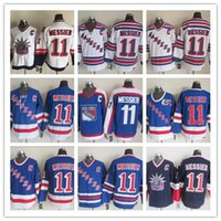 Wholesale Liberty Vintage - Retro New York NY Rangers Running Jerseys Hockey 11 Mark Messier Uniforms Liberty Winter Classic CCM Vintage Throwback White Blue Alternate