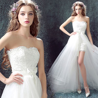 Wholesale High Chest Chiffon Dresses - Ivory chiffon Lace strapless chest high low detachable tail bride wedding dress off shoulder tulle beach photo