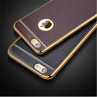 Wholesale iphone slim leather case - Luxury Electroplating Soft PU Leather Case Slim Design TPU Case For iPhone X 8 7 6S Plus