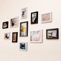 Wholesale Europe Photo Frame - Children Bedroom Photo Wall Frame Rectangle 11pcs   set Background Wall Decoration European Style Mixed Color People Scenery Photos