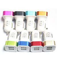 iphone смартфон оптовых-Продвижение 2.1 A двойной USB металл автомобильное зарядное устройство 2 порта адаптер зарядные устройства сотового телефона для смартфонов бесплатно DHL