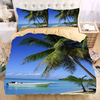 Wholesale Beautiful Duvet Covers - Wholesale- Sandy beach 3D Bedding Set Monocerus Print Duvet cover set Twin queen king Beautiful pattern Real effect lifelike bedclothes