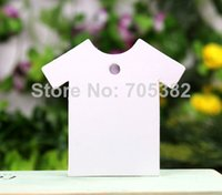 Atacado 500pcs / lot 5 * 5cm (Com cabo) Creative forma de roupa branca em branco papel kraft Hang Tag Label Packaging (dd-643)