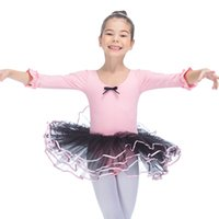 Wholesale Girls Ballet Dance Tutu - Ballet Dancing Dress 3 4 Sleeve Cotton Lycra Leotard and Soft Tulle Skirt Kids Girls Tutus Costumes Full Sizes 10 Colors Available