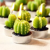 Wholesale Decoration Interiors - Cactus Scented Candle Green Meat Plant Home Interior Scent Candles Romantic Green Mini Tea Light Lovely Christmas Gift Party Decorations