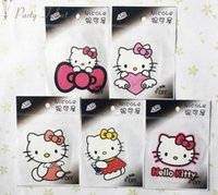 Wholesale Stickers For Clothe Cartoon - Kitty Cat Cartoon Individual clothes decoration DIY Iron Sticker 50pcs lot for Girls Iron On Heat Transfer Glitter Stickers
