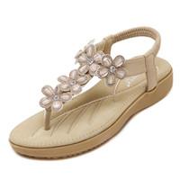 Wholesale Women Korean Style Flat - 2017 Korean Style of The Sweet Joker Shoes High Quality Flowers Woman Beach Flip Flops Summer Sandals Slip Resistant Slippers