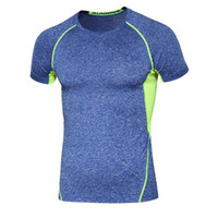 Wholesale T Shirt Outdoor Sports Body Building Clothes Men s Sports T Shirt Sportswear Yoga Outfits Fitness Compression Shirt Elastic Tight Top Coat