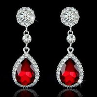 Wholesale Dangling Rings - Drop Earrings Fashion Crystal Jewelry Big Platinum Plated Dangle Water Drop Earrings For Women Dangle Chandelier Ear Rings Ear Drops 12pcs