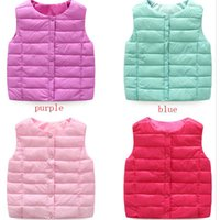 Wholesale Cotton Down Vests - 2017 New Children's Down Vest Autumn And Winter Kids Waistcoats Casual Clothing 6 Colors For 3-8 Years Children Jacket Coat