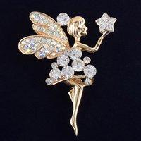 melekler rozetleri toptan satış-Toptan-Kadınlar için güzel melek pimleri broşlar takı altın kaplama rhinestone eşarp broş yaka pin broche rozeti noel hediyeleri