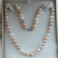 Wholesale Multicolor Cultured Pearl Necklace - 2017 7-8mm Genuine Natural Multicolor Akoya Cultured Pearl Necklace 18""
