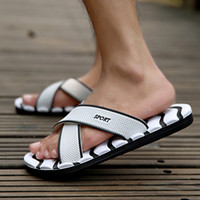 Vente en gros - Hommes Sandales Pantoufles Famous Brand Designer Casual Plaid Stripes Summer Fashion Men Outdoor Casual Chaussures de plage Flip flops Blanc
