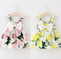 Wholesale Girls Dresses Suspender Lace - 2017 New Fashion Infant Dresses Girls Lemon Printed Dress Children Sundress Baby Girl Clothes Bowknot Dresses for Kids Girl 2 Color