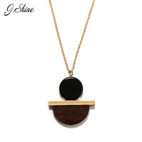 Wholesale Personalized Wood Gift - Wholesale- Personalized Vintage Geometric Round Wood Resin Long Winter Sweater Pendant Necklaces Collier Ethnic Jewelry Necklaces for Women