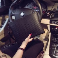 Wholesale Photo Trends - Factory wholesale brand fashion leather bag stripe man clutch leisure soft leather hand bag envelope trend of large capacity man purse