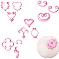 Wholesale Fondant 12 - Delidge 12 pcs set Rose Flower Sugarcraft Mold Flower Petals Lace Heart Fondant Mold Plastic Cake Decoration Sugar Modeling