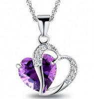 collar de amatista joyas corazón al por mayor-Mujeres Crystal Love Heart Colgantes Collares Joyas Fashion Girls Lady Heart Crystal Amethyst Colgante Collar NUEVA Joyería